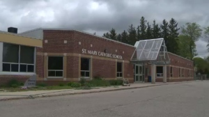 Police said they were called to St. Mary Catholic School around 9:30 p.m. on Sunday for the report of vandalism.