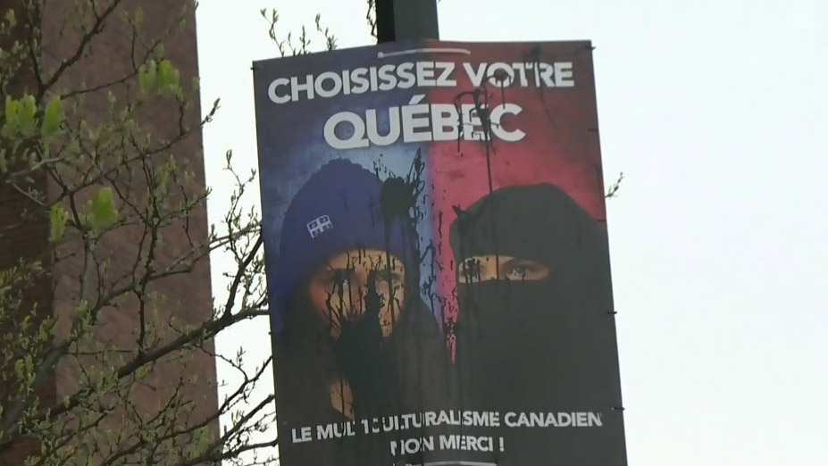 The sign shows two images of the same woman: one where she's wearing a toque and the other where she's dressed in a niqab.