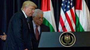 Palestinian President Mahmoud Abbas and U.S. President Donald Trump in Bethlehem, on May 23, 2017. (Nasser Nasser / AP)