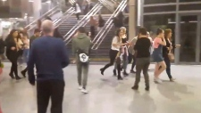 People running through Manchester Victoria station