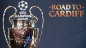 Champions League trophy at the UEFA headquarters, in Nyon, Switzerland. (Jean-Christophe Bott / Keystone via AP)