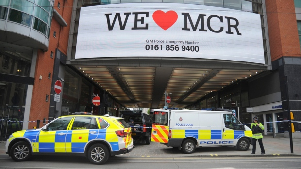 Evacuating Arndale shopping centre in Manchester