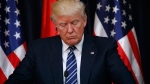 U.S. President Donald Trump pauses as he makes a statement on the terrorist attack in Manchester, after a meeting with Palestinian President Mahmoud Abbas, Tuesday, May 23, 2017, in the West Bank City of Bethlehem. (AP / Evan Vucci)