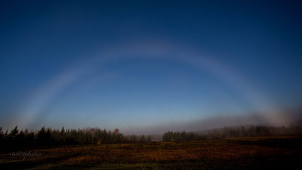 This lovely fogbow was photographed last year by Hilde van den Heuvel, Lr.Springfield, Antigonish Co. NS .