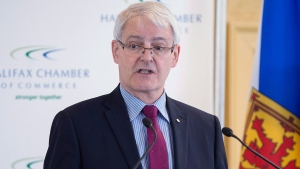 Federal Transport Minister Marc Garneau delivers a speech on the Transportation Modernization Act and the Ocean Protection Plan at a business luncheon in Halifax on Tuesday, May 23, 2017. (THE CANADIAN PRESS/Andrew Vaughan)