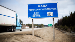 The Trans-Canada Highway in Wawa, Ont. is shown on April 4, 2017. (THE CANADIAN PRESS / Nathan Denette)