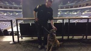 Const. Rob Carver said an explosive specialty dog will be part of Friday's security detail at MTS Centre. (Josh Crabb/CTV Winnipeg)