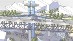 A concept sketch from an HCMA land use vision plan shows a proposed elevator and staircase build into the Granville Street Bridge.