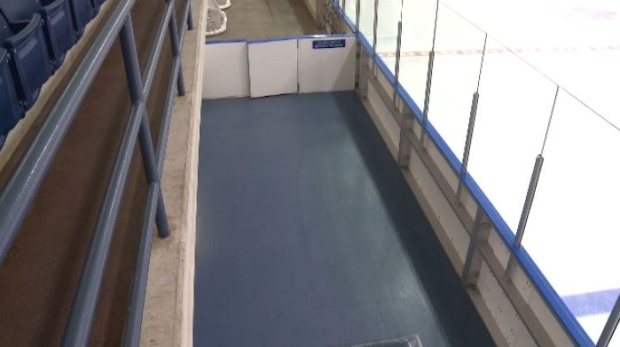 The new rubber floors at the Hespeler Memorial Arena are seen in the photo on May 23, 2017 (CTV Kitchener)