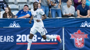 Vancouver Whitecaps' Alphonso Davies celebrates his goal against the Montreal Impact during first half semifinal Canadian Championship soccer action in Vancouver, B.C., on Tues., May 23, 2017. (Darryl Dyck / THE CANADIAN PRESS)