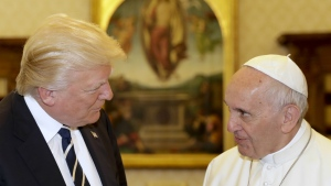 Pope Francis meets with U.S. President Donald Trump on the occasion of their private audience, at the Vatican on Wednesday, May 24, 2017. (AP / Alessandra Tarantino)