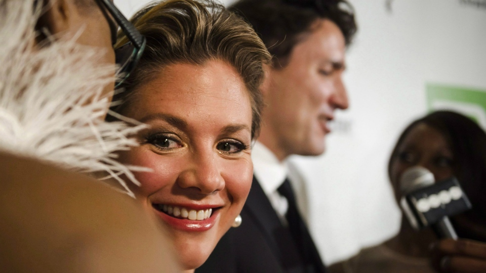 Sophie Gregoire Trudeau smiles during the Harry Jerome Awards held in Mississauga, Ont., on Saturday, April 22, 2017. (Christopher Katsarov / THE CANADIAN PRESS)