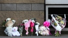 Floral tributes outside the Manchester Arena in Manchester, England, on May 24, 2017. (Dave Thompson / AP)