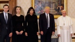 From left, Jared Kushner, Ivanka Trump, first lady Melania Trump, President Donald Trump and Pope Francis pose  at the Vatican, May 24, 2017. (AP Photo/Alessandra Tarantino, Pool)