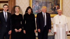 From left, Jared Kushner, Ivanka Trump, first lady Melania Trump, President Donald Trump and Pope Francis pose  at the Vatican, May 24, 2017. (AP Photo/Alessandra Tarantino, Pool)