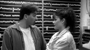 Brian O'Halloran and Lisa Spoonauer as seen in the 1994 film Clerks, (Miramax Films)