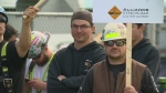 Construction workers on strike in Montreal on May 24, 2017