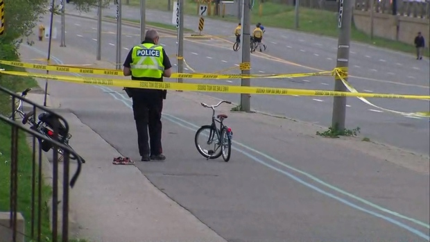 A 5-year-old boy was fatally struck along Lake Shore Boulevard on Wednesday evening after investigators say he fell off his bike onto the roadway. (CP24)