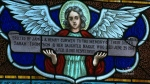 A stained glass window is seen in Saint Jude's Anglican Church in Brantford, Ont. (CTV Kitchener)