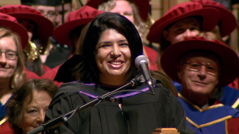 Rumana Monzur, a Bangladeshi woman who was blinded in a vicious attack by her husband in 2011, graduated from the law school at the University of British Columbia on May 24, 2017. (CTV)