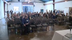 People are seen attending a town hall put on by the Tourism Industry Association of Canada in Kitchener on May 24, 2017 (CTV Kitchener)