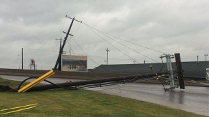 A power pole near Blackfoot Trail and Ogden Road was toppled by heavy winds on Wednesday evening.