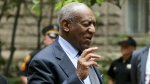 Bill Cosby talks to the media gathered at the Allegheny County Courthouse as he leaves after the third day of jury selection for his sexual assault case in Pittsburgh on Wednesday, May 24, 2017. (AP / Keith Srakocic)