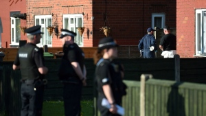 Police activity at an address in Elsmore Road, in connection with the concert blast at the Manchester Arena, in Manchester, England on Wednesday, May 24, 2017. (Joe Giddens / PA)