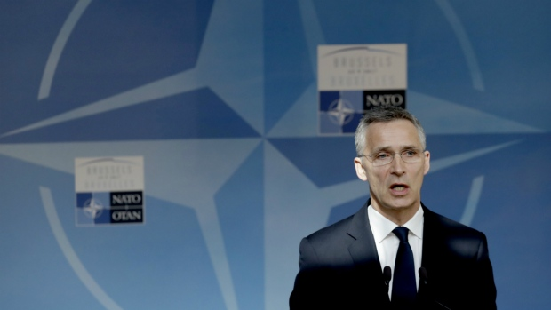 NATO Secretary General Jens Stoltenberg speaks during a media conference ahead of a NATO summit in Brussels on Thursday, May 25, 2017. (AP / Matt Dunham)