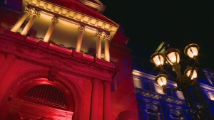 Montreal City Hall was lit in the colours of the UK flag on May 24, 2017