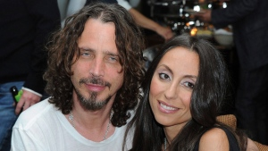 "Chris Cornell, at left, and his wife, Vicky Karayiannis attend the celebration of ""Commando: The Autobiography of Johnny Ramone,"" in Los Angeles on  April 27, 2012. (Katy Winn/AP)"