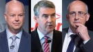 From left to right: Progressive Conservative Leader Jamie Baillie, Liberal Leader Stephen McNeil, and NDP Leader Gary Burrill. (Photos: The Canadian Press)