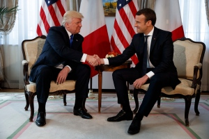 U.S. President Donald Trump shakes hands with French President Emmanuel Macron during a meeting at the U.S. Embassy, Thursday, May 25, 2017, in Brussels. (AP / Evan Vucci)