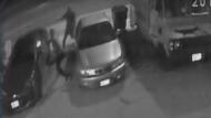 Two men firing handguns at 33-year-old Leonard Pinnock are seen in surveillance camera footage on April 21, 2017. (Toronto police)