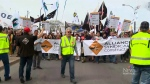 Striking Montreal construction workers hold protests, Thursday, May 25, 2017