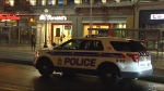 Police say a man was stabbed on Rideau Street early Thursday morning.