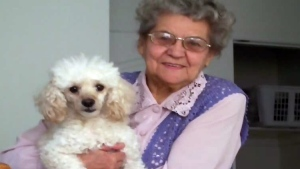 The body of 82-year-old Nelliya Karbisheva, pictured with her beloved dog,  was discovered in a wooded area off Maple Grove Road, in Stittsville on Thursday, May 25, 2017.