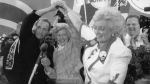 Former B.C. Premier Bill Bennett shares the stage with Social Credit leadership candidates Grace McCarthy and confirmed leader Rita Johnston during the leadership convention in Vancouver on July 20, 1991. (The Canadian Press/Chuck Stoody)