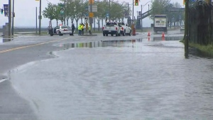 Heavy rains have soaked roadways throughout the city, prompting closure of a swath of Lake Shore Boulevard due to pooling water, Toronto police say. (CP24)