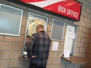 Fans pick up tickets for the Memorial Cup final at the WFCU box office in Windsor, Ont., on Thursday, May 25, 2017. (Sacha Long / CTV Windsor)