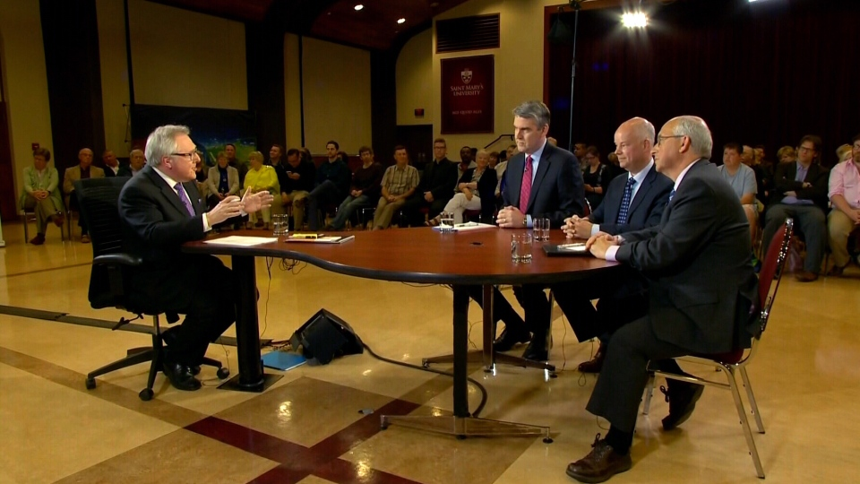 CTV Atlantic's Steve Murphy speaks with Liberal Leader Stephen McNeil, PC Leader Jamie Baillie and NDP Leader Gary Burrill, in Halifax, N.S., on Thursday, May 25, 2017.