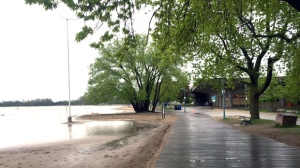 Another hammering of heavy rain has only worsened water levels at Woodbine Beach. (Courtney Heels/CP24)