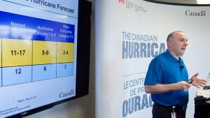 Meteorologist Bob Robichaud discusses the potential impacts of the upcoming 2017 hurricane season at the Canadian Hurricane Centre in Dartmouth, N.S. on Thursday, May 25, 2017. (THE CANADIAN PRESS/Andrew Vaughan)