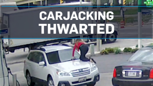 Woman foils carjacking by jumping on her own car