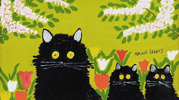 """A photograph of Maud Lewis' """"Three Black Cats"""" (Consignor Canadian Fine Art / Instagram)"""