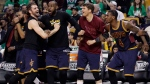 Cleveland Cavaliers, from left, Kevin Love, LeBron James, Kyle Korver and Iman Shumpert celebrate a basket during the second half of Game 5 of the NBA basketball Eastern Conference finals against the Boston Celtics, in Boston, on Thursday, May 25, 2017. (AP Photo/Elise Amendola)
