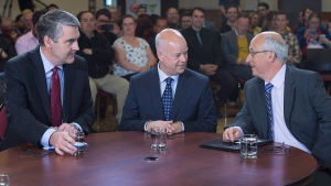 Nova Scotia Liberal leader Stephen McNeil, Progressive Conservative leader Jamie Baillie and NDP leader Gary Burrill, left to right, have a chat before the start of a leaders' round table at Saint Mary's University in Halifax on May 25, 2017. (Andrew Vaughan/The Canadian Press)