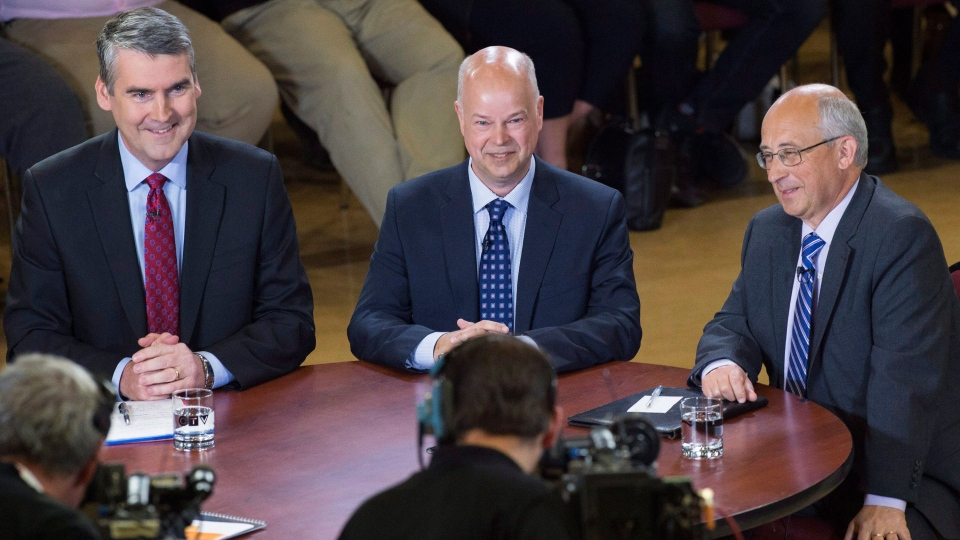 Nova Scotia Liberal leader Stephen McNeil, Progressive Conservative leader Jamie Baillie and NDP leader Gary Burrill, left to right, participate in a leaders' roundtable at Saint Mary's University in Halifax on Thursday, May 25, 2017. The provincial election will be held Tuesday, May 30. (THE CANADIAN PRESS/Andrew Vaughan)