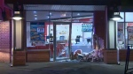 A truck crashed into the entrance of a Domino's Pizza location in northeast Calgary, but luckily no one was injured.