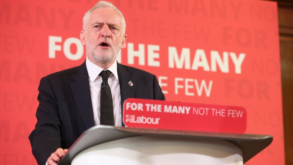 Britain's Labour Party leader Jeremy Corbyn delivers a speech in central London, on May 26, 2017. (Jonathan Brady / PA via AP)